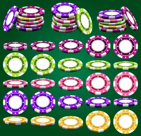 Fichas de casino en escorzo y colores distintos en el vector, aislado sobre el verde Ilustración de vector