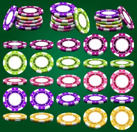 jetons poker: Jetons de casino en raccourci et de couleurs diff�rentes dans le vecteur, isol� sur fond vert Illustration