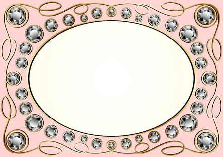 bijoux diamant: Vecteur vieux cadre dor� incrust� de diamants