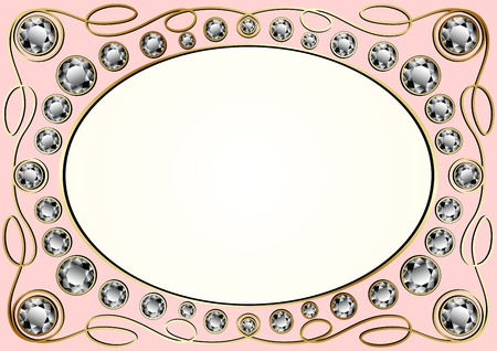 inlaid: Vector vintage golden frame inlaid with diamonds Illustration