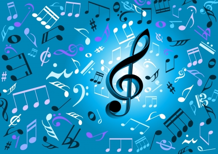 partying: Musical notes flying on a blue background