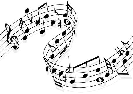 music banner: Muzieknoten vliegen over de notenbalk