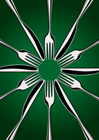 lunchroom: Place Setting - forks and knifes on the green background Illustration