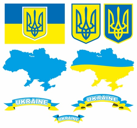 Emblem, flag and map of Ukraine isolated in vector