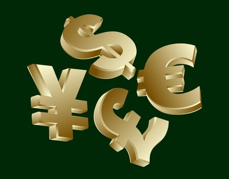 currency symbols: Golden currency symbols - dollar, euro, yen, sterling Illustration