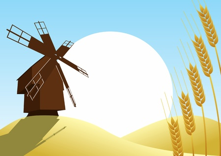 Mill on the background of the wheat fields and wheat ears, sun and blue sky Vector