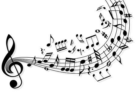 notas musicales: Las notas musicales que vuelan sobre el pentagrama