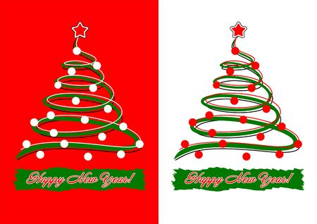 Template holiday card - Christmas tree and inscription Stock Vector - 14636160