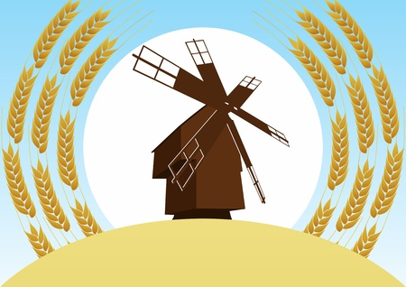 Mill on the background of the wheat fields and wheat ears, sun and blue sky Stock Vector - 14636430