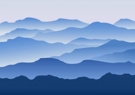 leque: A silhueta das montanhas na manh Ilustra��o
