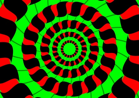 concentric: Colorful abstract background - red concentric circles on a green background Illustration