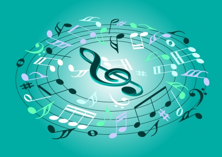 Musical notes flying on a green background Vector