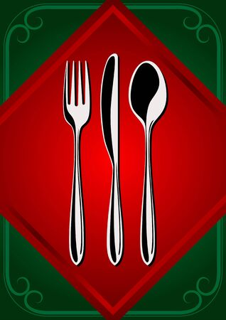 dinner dish: Place Setting - forks, spoon, and knifes on the green background Illustration