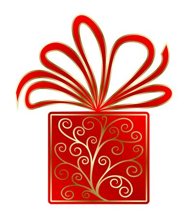 Red gift decorated with gold pattern and a beautiful bow, isolated over white Stock Vector - 14636737