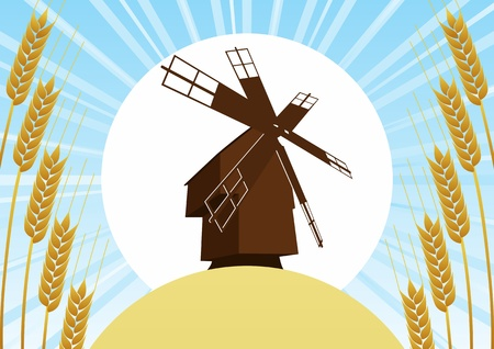 Mill on the background of the wheat fields and wheat ears, sun and blue sky Stock Vector - 14636767