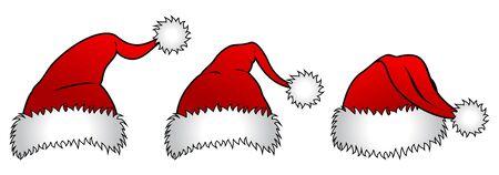 Three versions of Santa Claus hats Stock Vector - 14636743