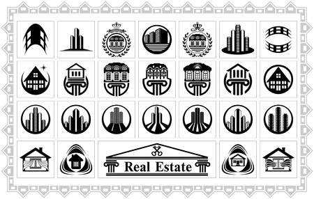 Set of stylized images of various houses and buildings for making logos