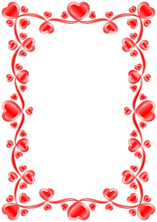 The frame consists of red hearts Stock Vector - 14636943