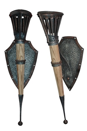 Torch in the form of a metal wrought shield photo