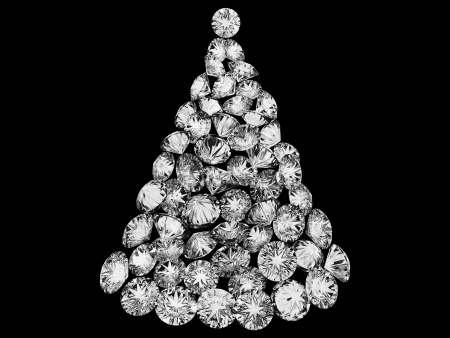Christmas tree made up of diamonds isolated over black 版權商用圖片
