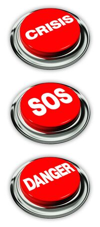 Crisis, danger and sos button, isolated over white