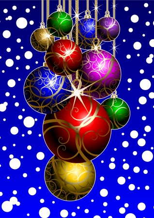 Template holiday postcards depicting New Year's balls Stock Vector - 14637009