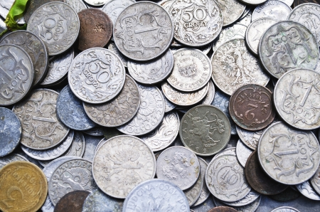 numismatics: Scattering of ancient coins from different countries Stock Photo