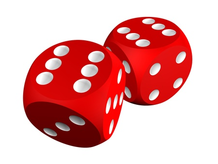Casino craps (dices), isolated over white photo