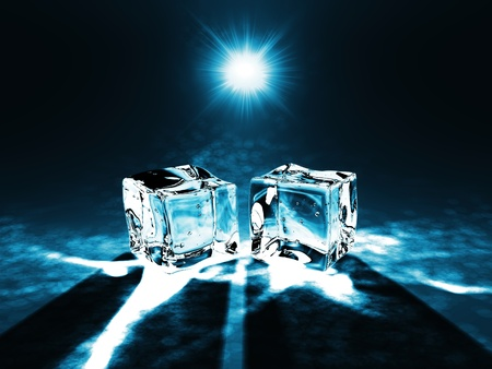 Beautiful Ice cubes on a dark background photo