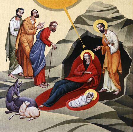 LVIV, UKRAINE - JUNE 06, 2012: The internal painting of the church of St. Anne, dedicated to church holidays. This image - an illustration of the Christmas. The author - Ivan Protsiv.