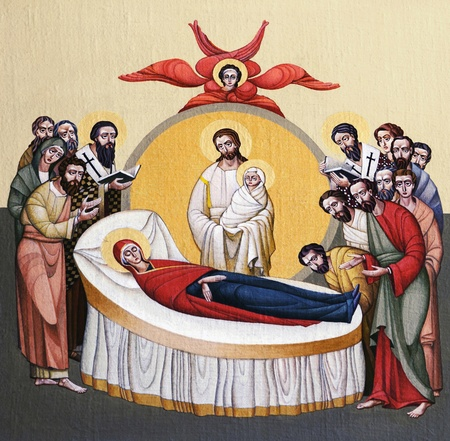 bible altar: LVIV, UKRAINE - JUNE 06, 2012: The internal painting of the church of St. Anne, dedicated to church holidays. This image - an illustration of the Dormition of the Theotokos. The author - Ivan Protsiv.