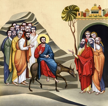 palm sunday: LVIV, UKRAINE - JUNE 06, 2012: The internal painting of the church of St. Anne, dedicated to church holidays. This image - an illustration of the Feast of the Palm Sunday. The author - Ivan Protsiv.