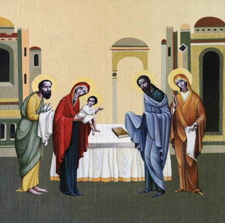 LVIV, UKRAINE - JUNE 06, 2012: The internal painting of the church of St. Anne, dedicated to church holidays. This image - an illustration of the Presentation of Jesus at the Temple. The author - Ivan Protsiv.