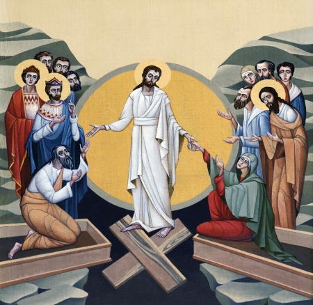 resurrected: LVIV, UKRAINE - JUNE 06, 2012: The internal painting of the church of St. Anne, dedicated to church holidays. This image - an illustration of the Resurrection of the Lord. The author - Ivan Protsiv.