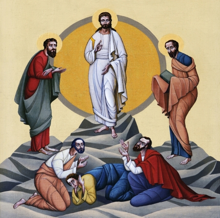 transfiguration: LVIV, UKRAINE - JUNE 06, 2012: The internal painting of the church of St. Anne, dedicated to church holidays. This image - an illustration of the Transfiguration. The author - Ivan Protsiv.