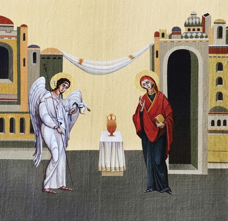 LVIV, UKRAINE - JUNE 06, 2012: The internal painting of the church of St. Anne, dedicated to church holidays. This image - an illustration of Feast of the Annunciation. The author - Ivan Protsiv.