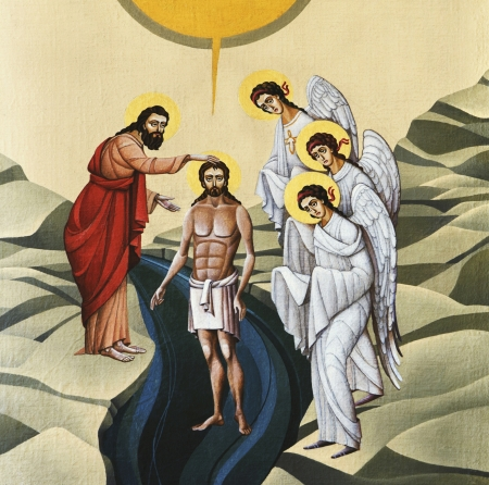 LVIV, UKRAINE - JUNE 06, 2012: The internal painting of the church of St. Anne, dedicated to church holidays. This image - an illustration of the Feast of the Baptism of Jesus. The author - Ivan Protsiv.