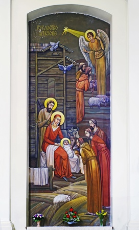 virgin mary mother of god: LVIV, UKRAINE - JUNE 06, 2012: The internal painting of the church of St. Anne, an illustration of the Christmas. The author - Ivan Protsiv.