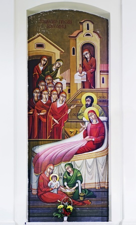 LVIV, UKRAINE - JUNE 06, 2012: The internal painting of the church of St. Anne, an illustration of the Nativity of the Theotokos. The author - Ivan Protsiv.