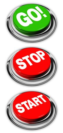 go, stop and start buttons, isolated over white Stock Photo - 14637513