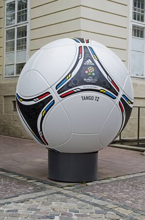 lemberg: LVIV, UKRAINE - JUNE 06, 2012: Official matchball of EURO-2012 TANGO 12, in the center of Lviv. In Lviv will play teams Group B. Editorial