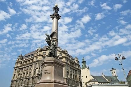 Monument to the poet Mickiewicz in Lviv, Ukraine photo
