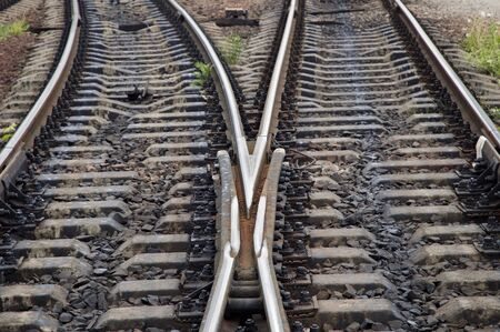 branching: The intersection of railroad tracks Stock Photo