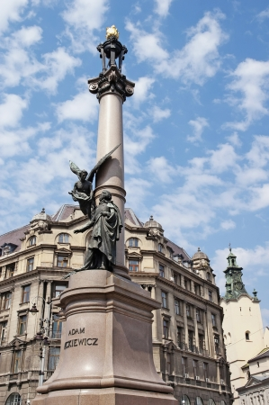lemberg: Monument to the poet Mickiewicz in Lviv, Ukraine