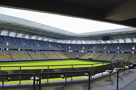 LVIV, UKRAINE - APRIL 28: Empty stadium Arena-Lviv on April 28, 2012 in Lviv, Ukraine. The stadium was built for EURO 2012.