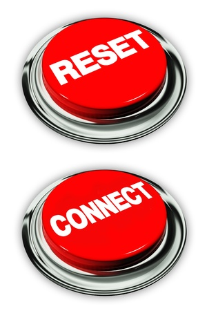 Reset and connect button, isolated over white Stock Photo