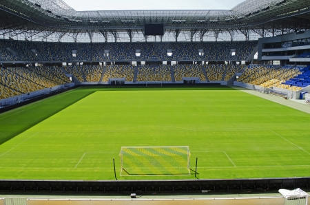 Empty stadium Arena-Lviv on April 28, 2012 in Lviv, Ukraine. The stadium was built for EURO 2012.  Editorial