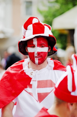 LVIV, UKRAINE - JUNE 13, 2012: Denmark football fans in the center of the Lvov city, before the match Denmark- Portugal.
