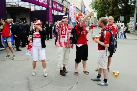 LVIV, UKRAINE - JUNE 13:  Denmark football fans in the center of the Lvov city, before the match Denmark- Portugal on June 13, 2012 in Lviv, Ukraine.