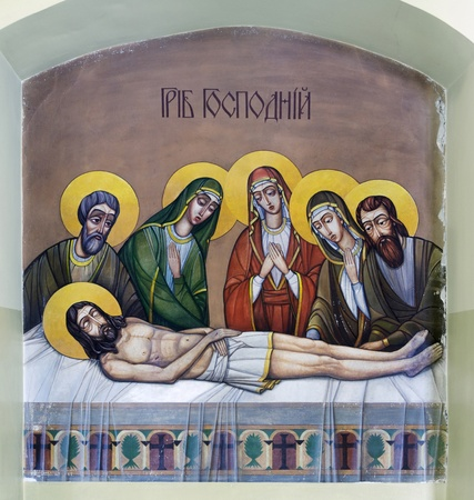 bible altar: LVIV, UKRAINE - JUNE 06, 2012: The internal painting of the church of St. Anne. This image - Holy Sepulchre. The author - Ivan Protsiv.